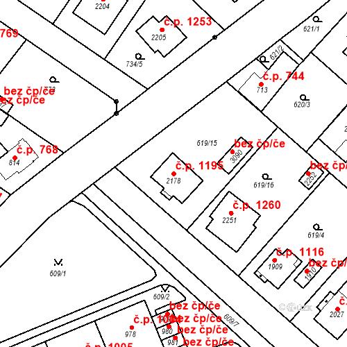 Katastrální mapa Stavební objekt Neratovice 1195, Neratovice