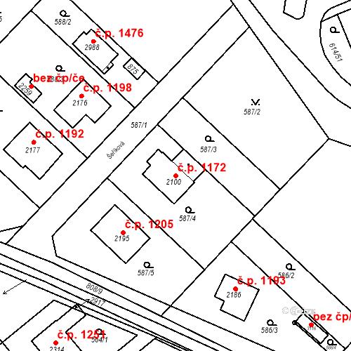 Katastrální mapa Stavební objekt Neratovice 1172, Neratovice