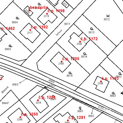 Katastrální mapa Stavební objekt Neratovice 1205, Neratovice