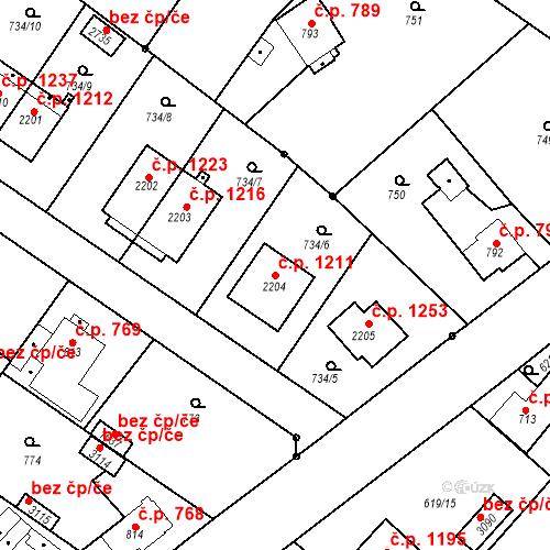 Katastrální mapa Stavební objekt Neratovice 1211, Neratovice