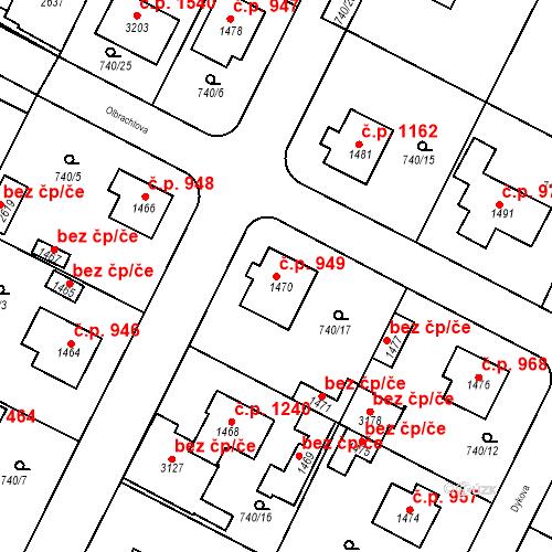 Katastrální mapa Stavební objekt Neratovice 949, Neratovice