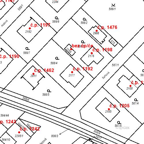 Katastrální mapa Stavební objekt Neratovice 1192, Neratovice