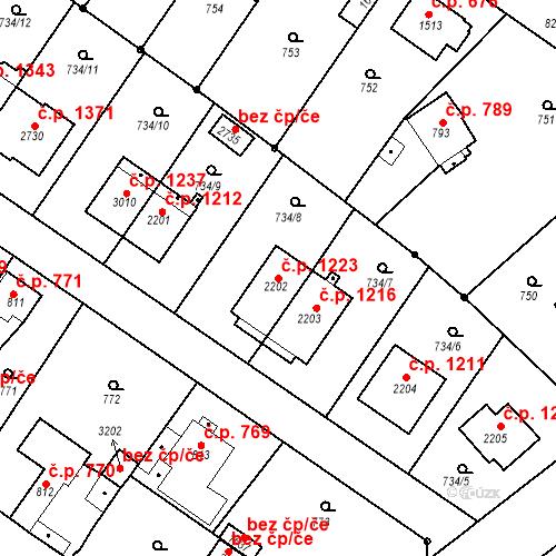 Katastrální mapa Stavební objekt Neratovice 1223, Neratovice