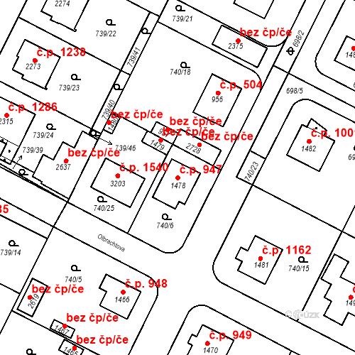 Katastrální mapa Stavební objekt Neratovice 947, Neratovice