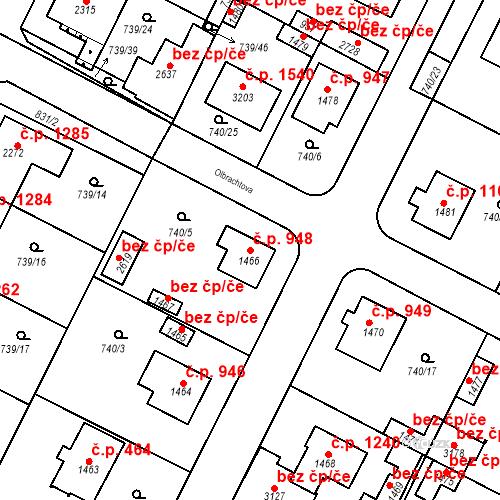 Katastrální mapa Stavební objekt Neratovice 948, Neratovice