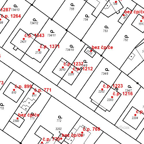 Katastrální mapa Stavební objekt Neratovice 1212, Neratovice