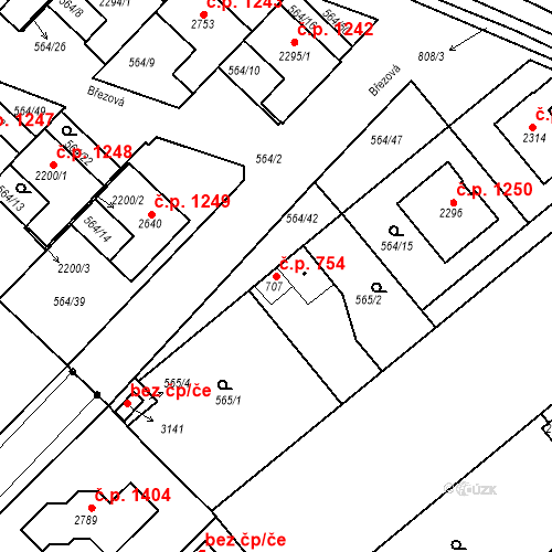 Katastrální mapa Stavební objekt Neratovice 754, Neratovice