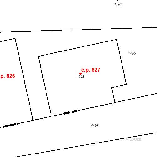 Katastrální mapa Stavební objekt Hovorčovice 827, Hovorčovice