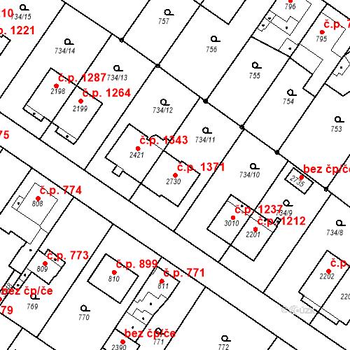 Katastrální mapa Stavební objekt Neratovice 1371, Neratovice