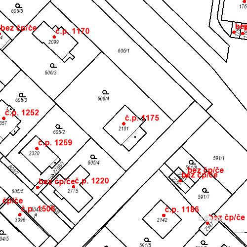 Katastrální mapa Stavební objekt Neratovice 1175, Neratovice