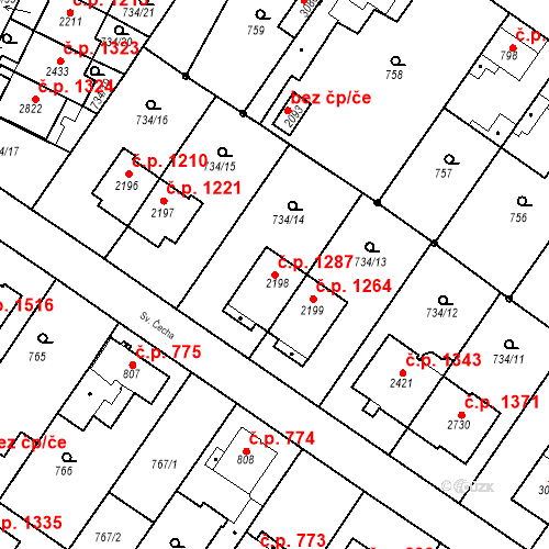 Katastrální mapa Stavební objekt Neratovice 1287, Neratovice