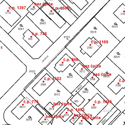 Katastrální mapa Stavební objekt Neratovice 898, Neratovice