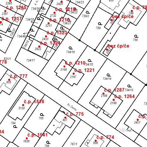Katastrální mapa Stavební objekt Neratovice 1221, Neratovice