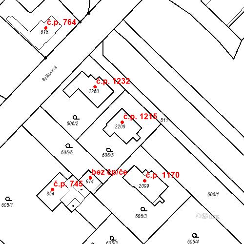 Katastrální mapa Stavební objekt Neratovice 1215, Neratovice