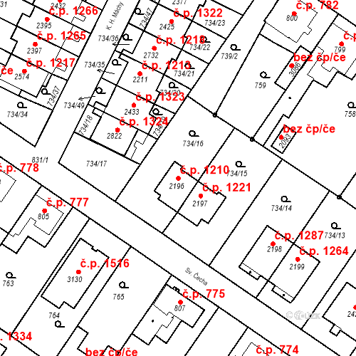 Katastrální mapa Stavební objekt Neratovice 1210, Neratovice