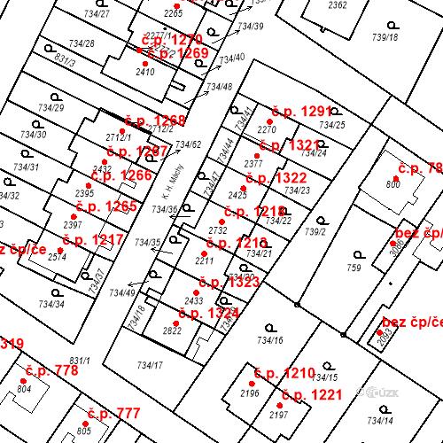Katastrální mapa Stavební objekt Neratovice 1218, Neratovice
