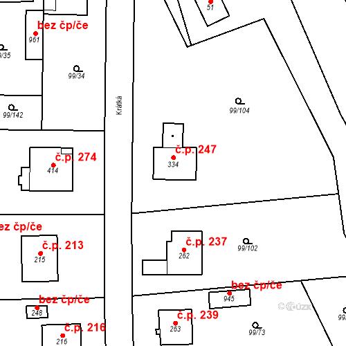 Katastrální mapa Stavební objekt Měšice 247, Měšice
