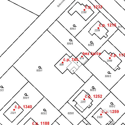 Katastrální mapa Stavební objekt Neratovice 745, Neratovice