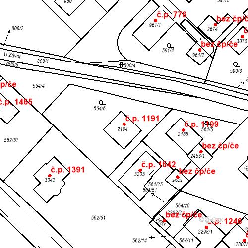 Katastrální mapa Stavební objekt Neratovice 1191, Neratovice