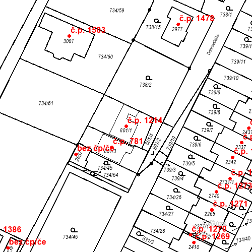 Katastrální mapa Stavební objekt Neratovice 1214, Neratovice