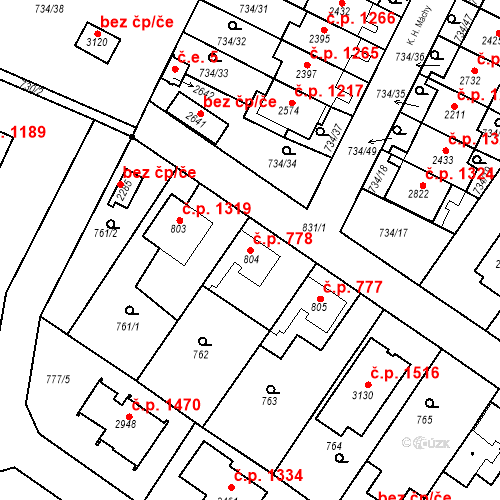 Katastrální mapa Stavební objekt Neratovice 778, Neratovice
