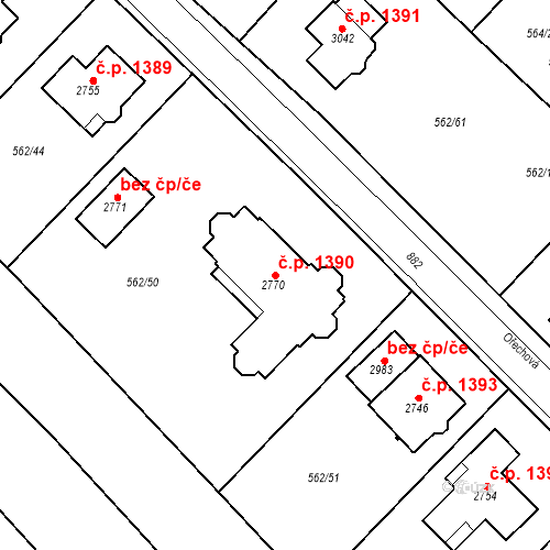 Katastrální mapa Stavební objekt Neratovice 1390, Neratovice