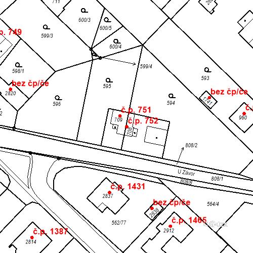 Katastrální mapa Stavební objekt Neratovice 752, Neratovice