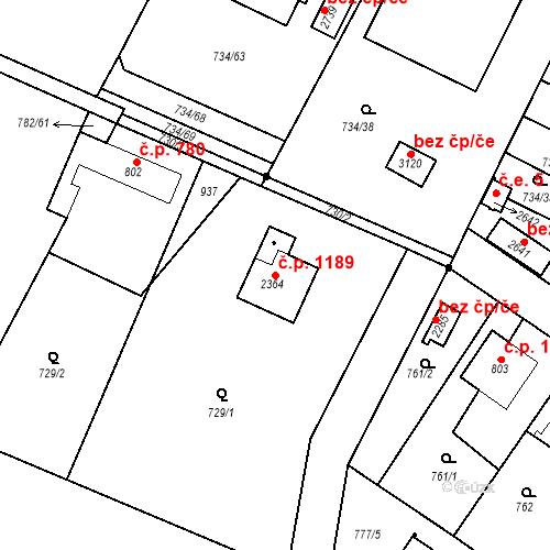 Katastrální mapa Stavební objekt Neratovice 1189, Neratovice