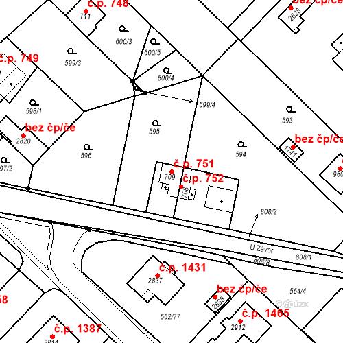 Katastrální mapa Stavební objekt Neratovice 751, Neratovice