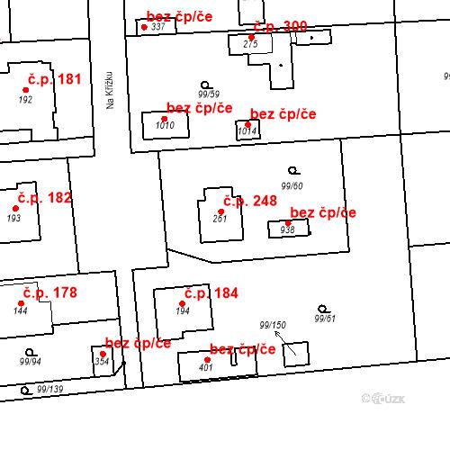 Katastrální mapa Stavební objekt Měšice 248, Měšice