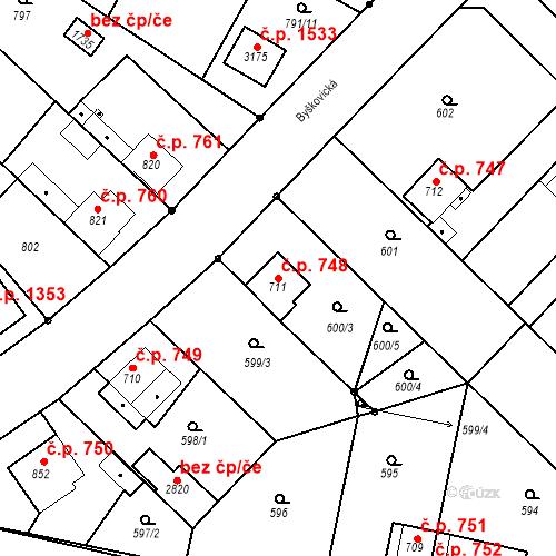 Katastrální mapa Stavební objekt Neratovice 748, Neratovice