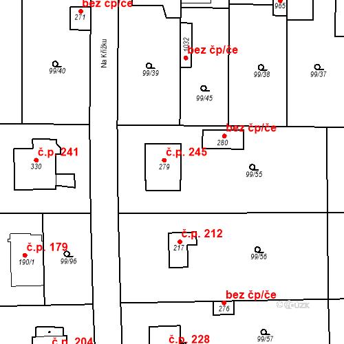 Katastrální mapa Stavební objekt Měšice 245, Měšice