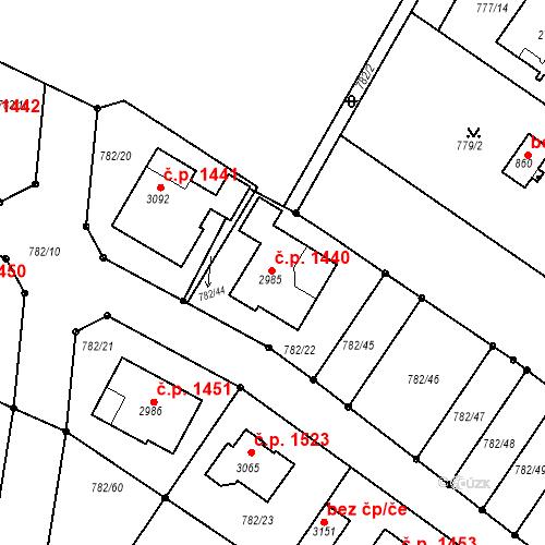 Katastrální mapa Stavební objekt Neratovice 1440, Neratovice
