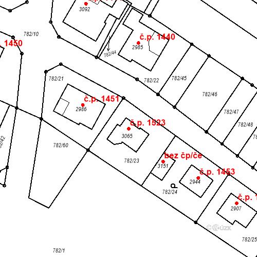 Katastrální mapa Stavební objekt Neratovice 1523, Neratovice
