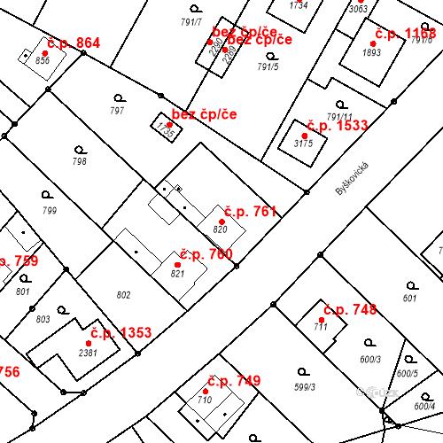 Katastrální mapa Stavební objekt Neratovice 761, Neratovice