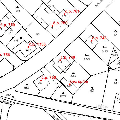 Katastrální mapa Stavební objekt Neratovice 749, Neratovice