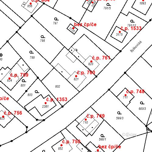 Katastrální mapa Stavební objekt Neratovice 760, Neratovice