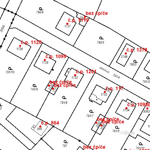 Katastrální mapa Stavební objekt Neratovice 1201, Neratovice