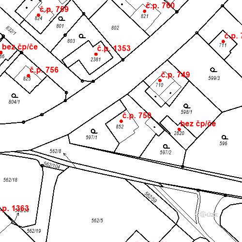 Katastrální mapa Stavební objekt Neratovice 750, Neratovice