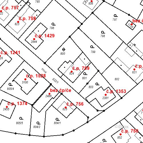 Katastrální mapa Stavební objekt Neratovice 759, Neratovice