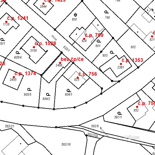 Katastrální mapa Stavební objekt Neratovice 756, Neratovice