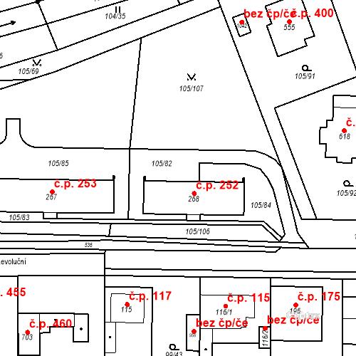 Katastrální mapa Stavební objekt Měšice 252, Měšice