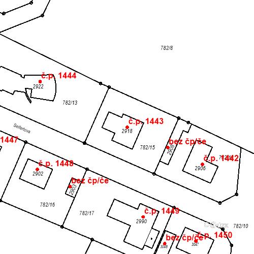 Katastrální mapa Stavební objekt Neratovice 1443, Neratovice