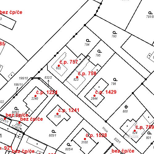 Katastrální mapa Stavební objekt Neratovice 758, Neratovice