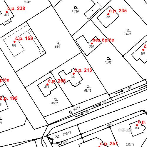 Katastrální mapa Stavební objekt Kojetice 213, Kojetice