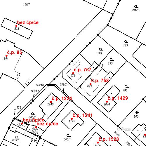 Katastrální mapa Stavební objekt Neratovice 757, Neratovice