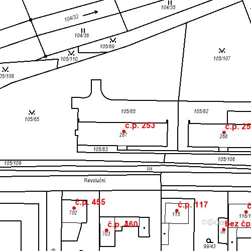 Katastrální mapa Stavební objekt Měšice 253, Měšice