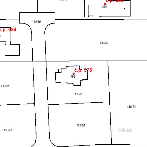 Katastrální mapa Stavební objekt Osnice 375, Jesenice