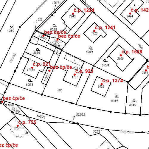 Katastrální mapa Stavební objekt Neratovice 923, Neratovice