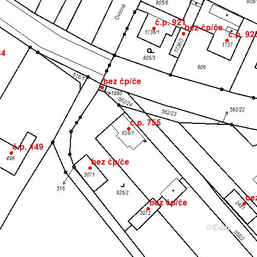 Katastrální mapa Stavební objekt Neratovice 755, Neratovice